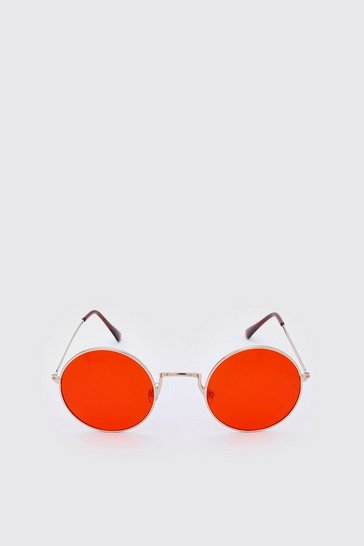 Red Round Coloured Lens Sunglasses