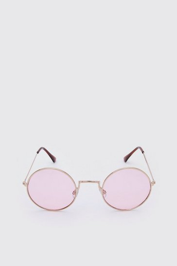 Pink Round Coloured Lens Sunglasses