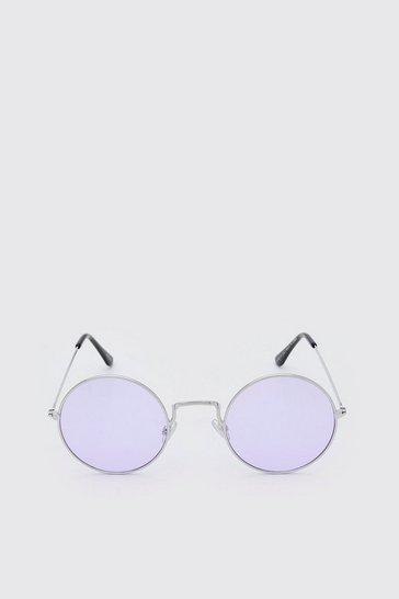 Lilac Round Coloured Lens Sunglasses