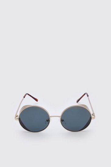 Gold Deep Edge Round Sunglasses