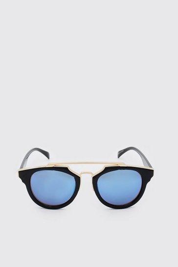 Blue Mirror Lens Top Bar Sunglasses