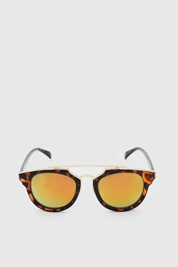 Orange Mirror Lens Top Bar Sunglasses