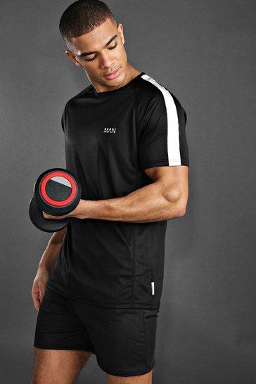 Black MAN Active Raglan Gym Reflective T-Shirt