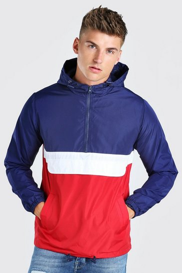 Navy Colour Block Overhead Cagoule Front Pocket