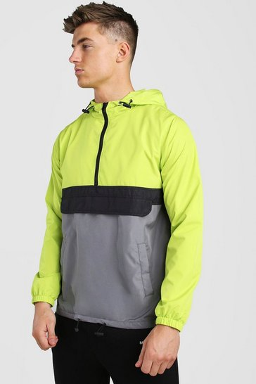 Neon-yellow Colour Block Cagoule Front Pocket