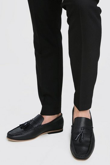 Black Emboss Leather Look Tassel Loafer