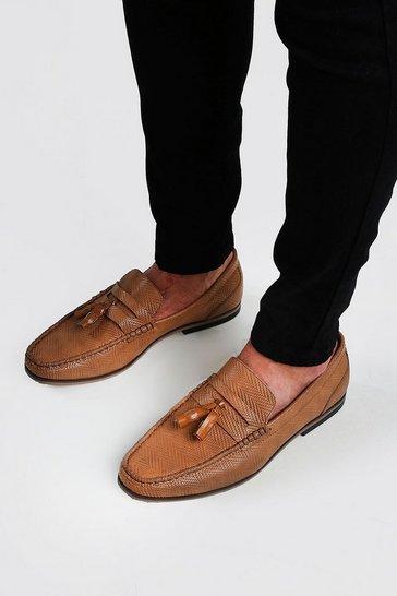 Tan Emboss Leather Look Tassel Loafer
