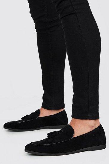 Black Faux Suede Tassel Detail Loafer