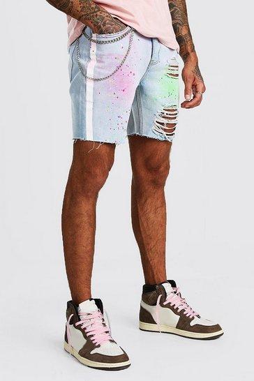 Light blue Slim Fit Spray Paint Denim Shorts With Chain