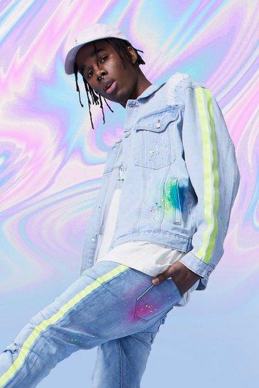 Light blue Drop Shoulder Spray Paint Denim Stripe Jacket