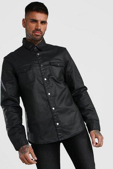 Black PU Coated Denim Shirt