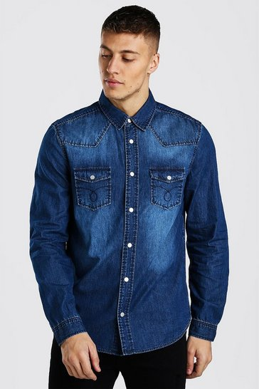 Dark blue Western Detail Denim Shirt