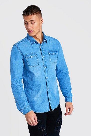 Light blue Washed Denim Shirt
