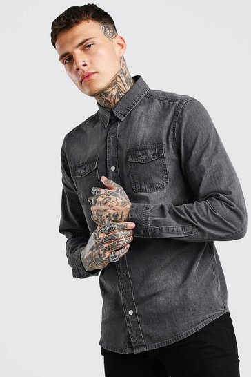 Grey Washed Denim Shirt