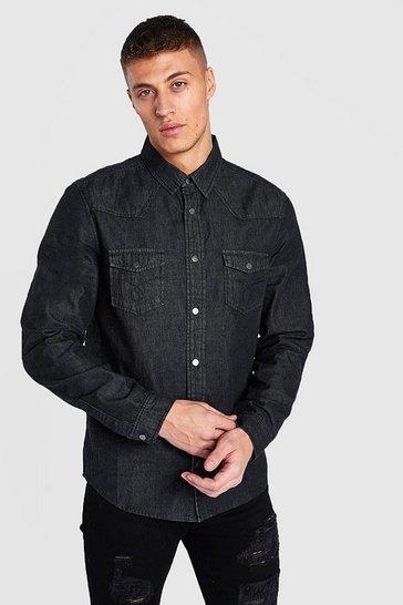 Black Western Detail Denim Shirt