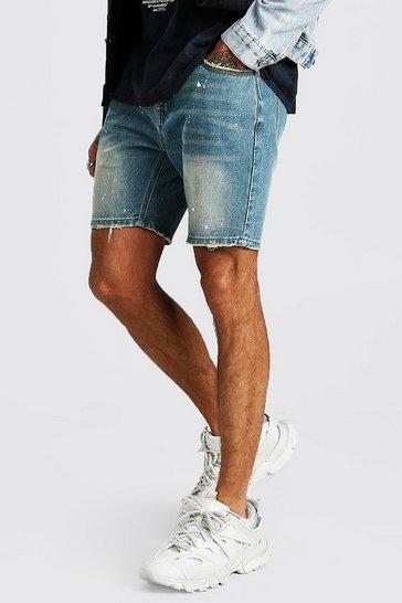 Mid wash Skinny Denim Short With Paint Splatter