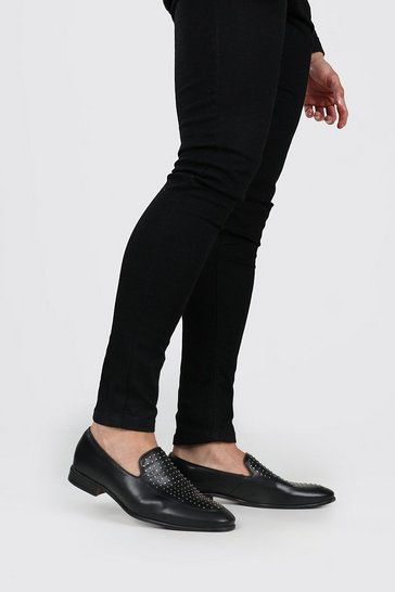 Black Pinstud Vamp Loafer