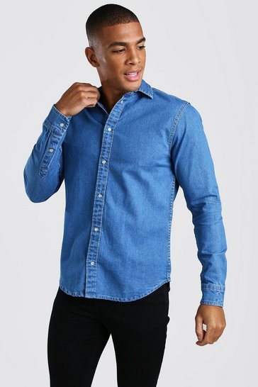 Mid blue Long Sleeve Muscle Fit Denim Shirt