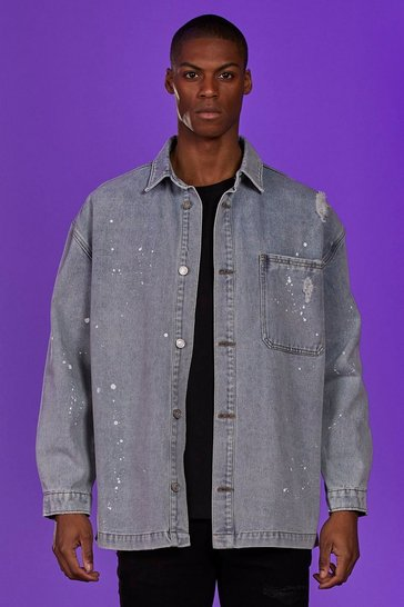 Ice Denim Longline Overshirt With Paint Splatter