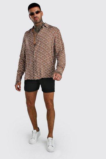 Taupe Long Sleeve Printed Shirt & Short Set In Viscose
