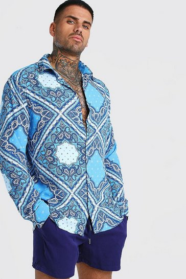 Blue Long Sleeve Paisley Print Shirt & Short Set