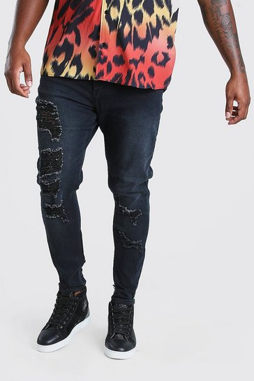 Charcoal Big & Tall Distressed Skinny Fit Jeans