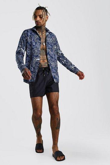 Navy Long Sleeve Shirt & Swim Short Set In Paisley Print