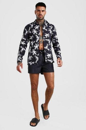 Black Long Sleeve Printed Shirt & Swim Short Set
