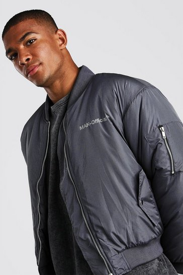 Charcoal Oversized Man Official Padded Bomber Jacket