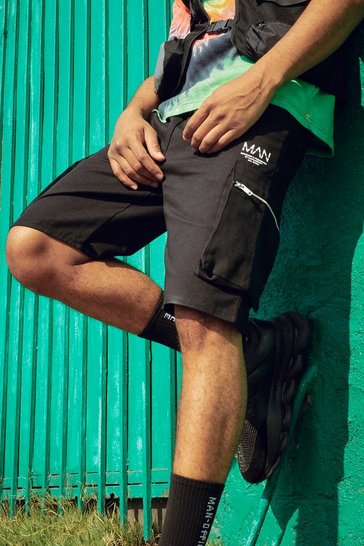 Black Mid Length Cargo Shorts With Zip Detail