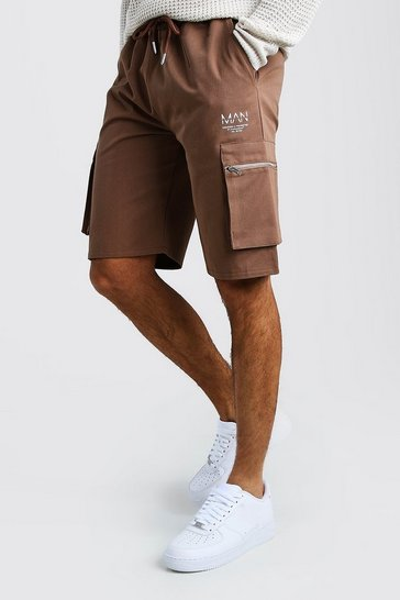 Brown Cargo Shorts With Zip Detail
