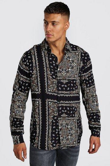 Black Long Sleeve Viscose Bandana Print Shirt