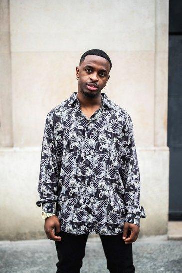 Black Long Sleeve Viscose Floral Printed Shirt