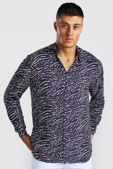 Navy Long Sleeve Viscose Animal Print Shirt