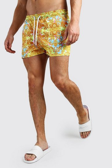 Gold Bright Baroque Printed Swim Short