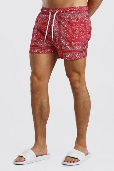 Red Bandana Print Short Swim Short