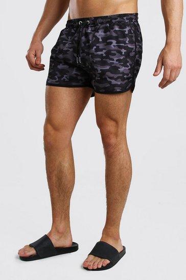 Black Camo Print Runner Swim Short