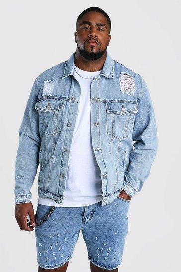 Pale wash Big And Tall Rip And Repair Denim Jacket