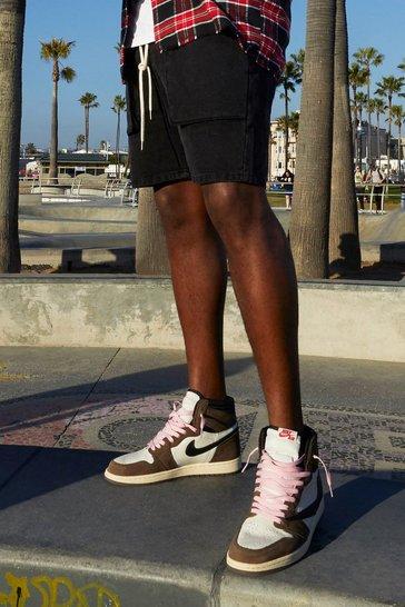 Washed black Big And Tall Slim Cargo Denim Short