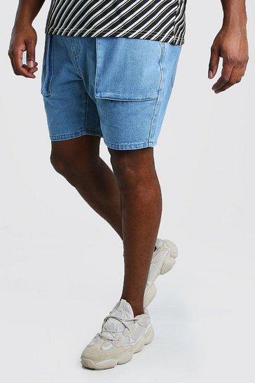 Vintage wash Big And Tall Slim Cargo Denim Short