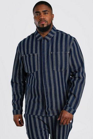 Dark blue Big And Tall Jacquard Denim Overshirt