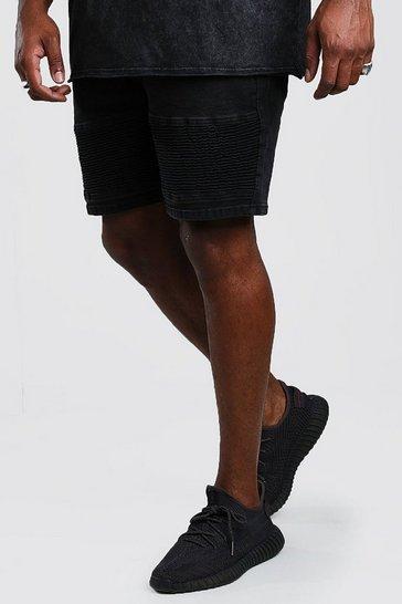 Washed black Big And Tall Skinny Biker Denim Short
