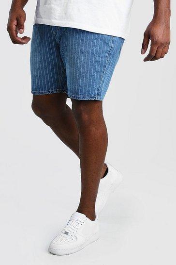 Vintage wash Big And Tall Slim Pinstripe Denim Short