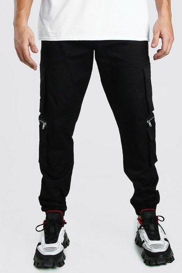 Black MAN Twill Multi Pocket Cargo Trouser With Zips