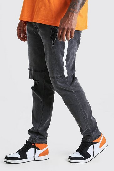 Washed black Big And Tall Skinny Jean With Side Paint