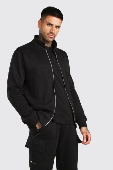 Black Basic Jersey Harrington Jacket