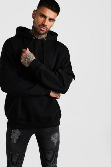 Black Oversized Utility Hoodie With Sleeve Pocket