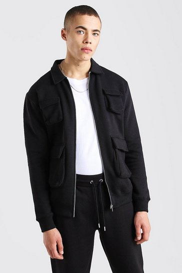 Black Jersey utility 4 Pocket Harrington Jacket