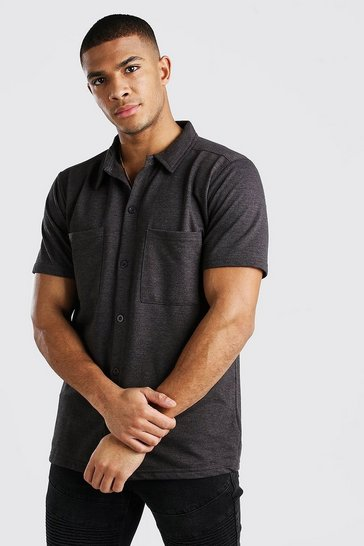 Charcoal Short Sleeve Utility Button Through Shirt