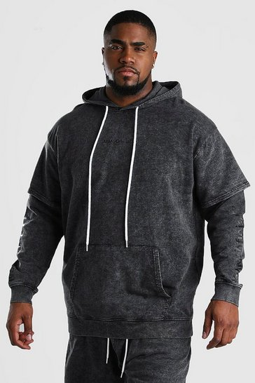 Charcoal Big And Tall MAN Official Layered Hoodie